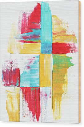 Original Bold Colorful Abstract Painting Patchwork By Madart Wood Print by Megan Duncanson