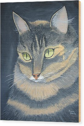 Original Cat Painting Wood Print by Norm Starks