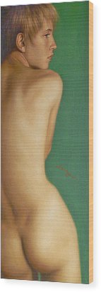 Original Classic Oil Painting Man Body Art-the Young Male Nude#16-2-1-07 Wood Print