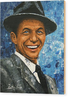 original contemporary painting Frank Sinatra Wood Print by Enxu Zhou