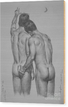 Original Drawing Sketch Charcoal Chalk Male Nude Gay Man Moon Art Pencil On Paper By Hongtao Wood Print