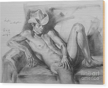 Original Drawing Sketch Charcoal Chalk Male Nude Gay Man On Sofa Art Pencil On Paper By Hongtao Wood Print