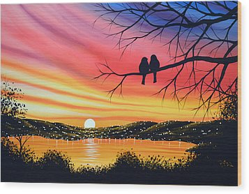 Original Landscape Art Birds Painting ... Alone Now Wood Print by Amy Giacomelli