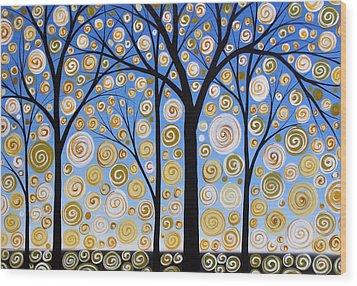 Original Landscape Tree Art Painting .. Sky Magic Wood Print by Amy Giacomelli