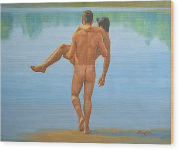 Original Oil Painting Man Body Art -male Nude By The Pool -073 Wood Print