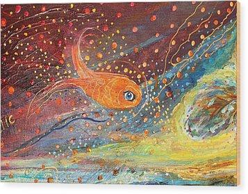 Original Painting Fragment 09 Wood Print by Elena Kotliarker