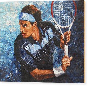 original palette knife painting Roger Federer Wood Print by Enxu Zhou
