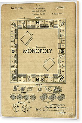 Original Patent For Monopoly Board Game Wood Print by Edward Fielding