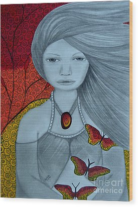 Original Pencil Drawing Art The Wind Of The Spirit 2 By Saribelle Rodriguez Wood Print
