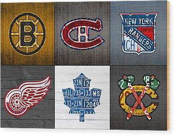 Original Six Hockey Team Retro Logo Vintage Recycled License Plate Art Wood Print by Design Turnpike
