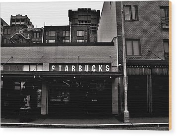 Original Starbucks Black And White Wood Print by Benjamin Yeager