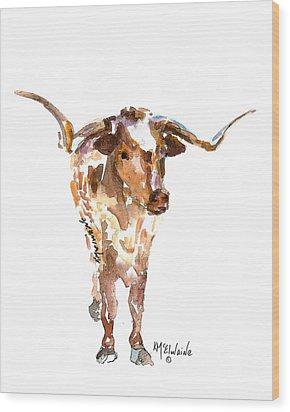 Original Longhorn Standing Earth Quack Watercolor Painting By Kmcelwaine Wood Print by Kathleen McElwaine