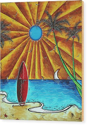 Original Tropical Surfing Whimsical Fun Painting Waiting For The Surf By Madart Wood Print by Megan Duncanson