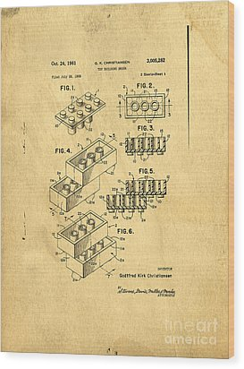 Original Us Patent For Lego Wood Print by Edward Fielding