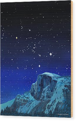Orion Over Halfdome Wood Print by Douglas Castleman
