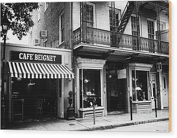 Orleans Cafe Noir Wood Print by John Rizzuto