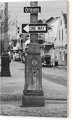 Orleans One Way Wood Print by John Rizzuto
