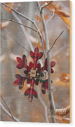 Wood Print featuring the photograph Ornament Hanging On Branch With Snow Falling by Sandra Cunningham