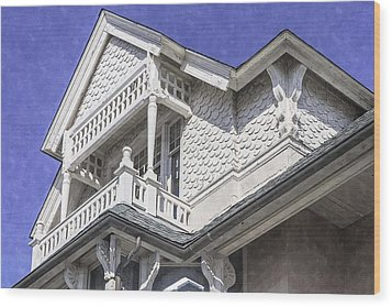 Ornate Balcony With View Wood Print by Lynn Palmer