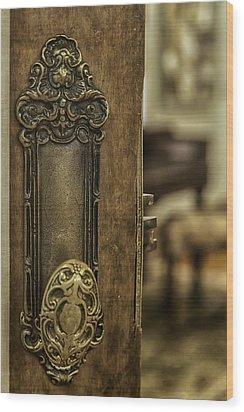 Ornate Brass Doorknob Wood Print by Lynn Palmer