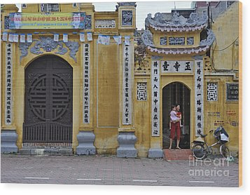 Ornate Buildings In The City Centre Of Hanoi Wood Print by Sami Sarkis