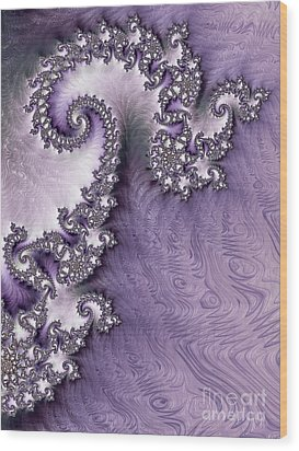 Ornate Lavender Fractal Abstract One  Wood Print by Heidi Smith