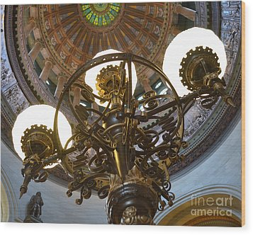 Ornate Lighting - Sprngfield Illinois Capitol Wood Print by Luther Fine Art