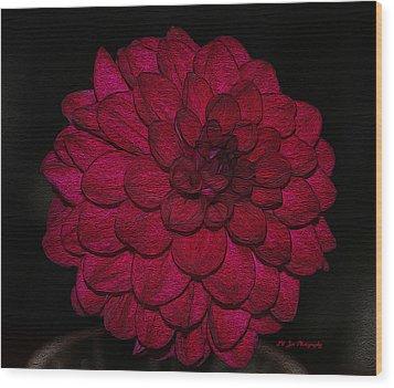 Ornate Red Dahlia Wood Print