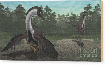 Ornithomimus Mother Dinosaur Wood Print by Vitor Silva