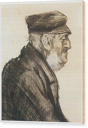 Orphan Man Bust-length Wood Print by Vincent van Gogh