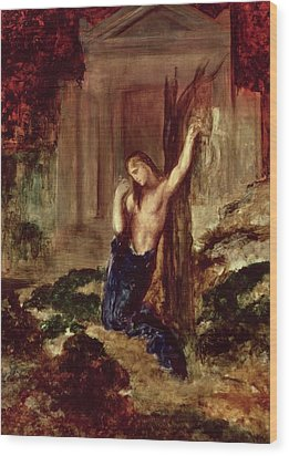 Orpheus At The Tomb Of Eurydice Wood Print by Gustave Moreau