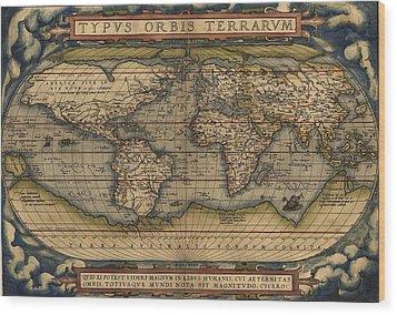 Ortelius Old World Map Wood Print