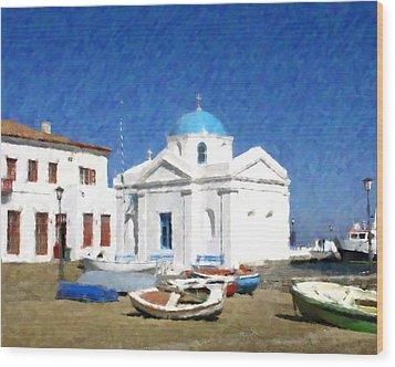 Orthodox Church Mykonos Island Greece Wood Print by Dan Chavez