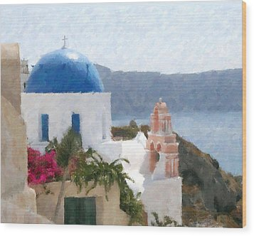 Orthodox Church Santorini Island Greece Wood Print by Dan Chavez