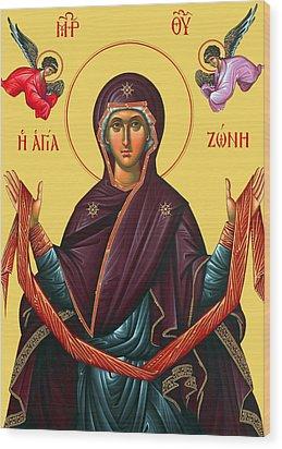 Orthodox Icon Of Mary Wood Print by Munir Alawi