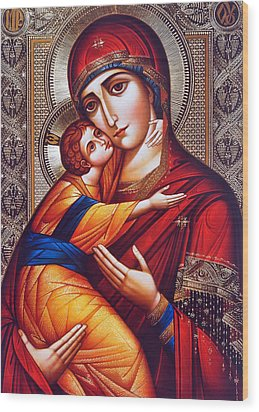 Orthodox Mary And Jesus Wood Print by Munir Alawi