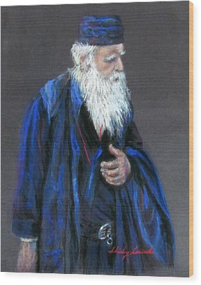 Orthodox Priest From Athens Greece Wood Print by Shirley Leswick