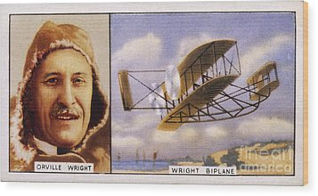 Orville Wright And Biplane Wood Print by Mary Evans Picture Library