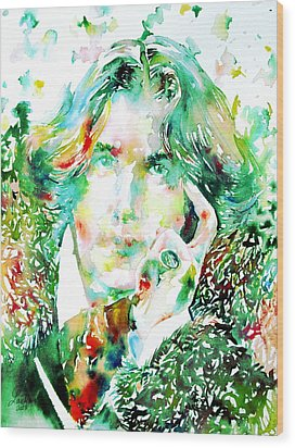 Oscar Wilde Watercolor Portrait.2 Wood Print by Fabrizio Cassetta