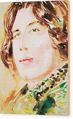 Oscar Wilde Watercolor Portrait.3 Wood Print by Fabrizio Cassetta