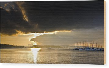 Oslo Harbor Sunset Wood Print by Aaron Bedell