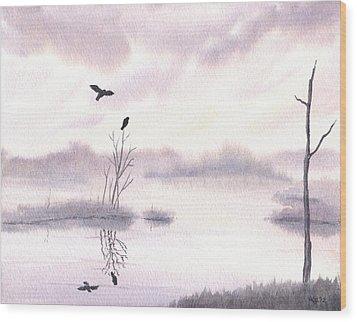 Ospreys At Dawn Wood Print by Anna Bronwyn Foley