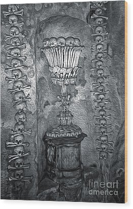 Ossuary Sedlec - Chalace Wood Print by Gregory Dyer
