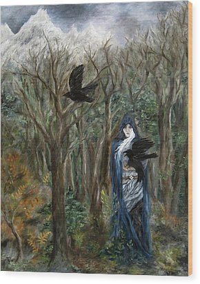 The Raven God Wood Print by FT McKinstry