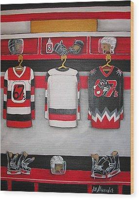 Ottawa 67's Player Locker Room Wood Print by Jill Alexander
