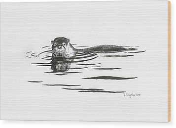 Otter In The Water Wood Print