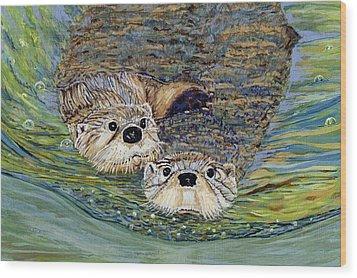 Otter Pals Wood Print by Sandra Wilson