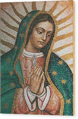 Wood Print featuring the painting Our Lady Of Guadalope by Pam Neilands