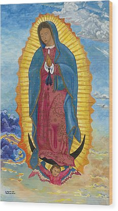 Wood Print featuring the painting Our Lady Of Guadalupe-new Dawn by Mark Robbins