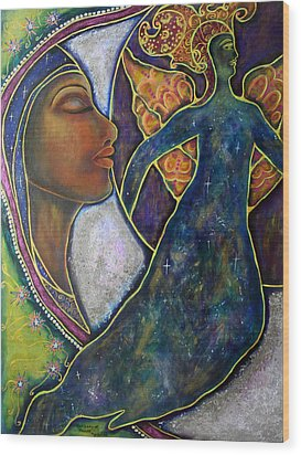 Our Lady Of Moonlit Mysteries Wood Print by Marie Howell Gallery